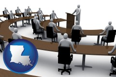 louisiana map icon and a meeting at a convention (conceptually)
